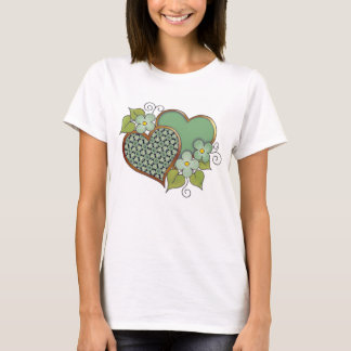 Two hearts with blossoms green T-Shirt