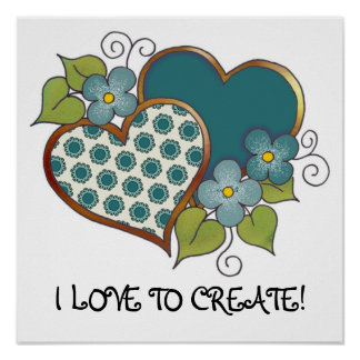 Two hearts with blossoms jade green posters