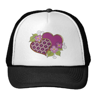 Two hearts with blossoms Maroon Trucker Hat