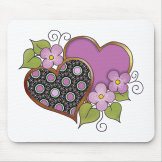 Two hearts with blossoms mouse pad