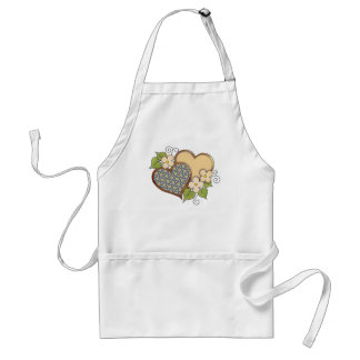 Two hearts with blossoms yellow adult apron