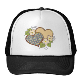 Two hearts with blossoms yellow trucker hat