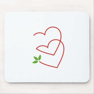 Two Hearts with leaves- symbol for matrimony Mouse Pad