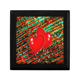Two Hearts with paint background Jewelry Box