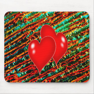 Two Hearts with paint background Mouse Pad