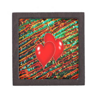 Two Hearts with paint background Premium Keepsake Box