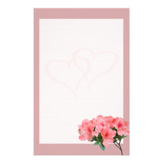 Two Hearts with Pink Border Wedding Stationery