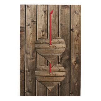 Two hearts wood wall art