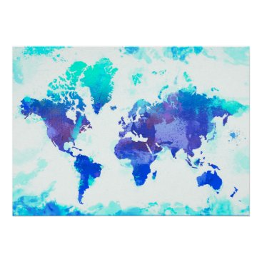 Valentines Themed Two Hearts World Map Poster