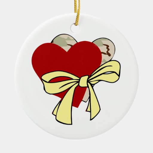 Two Hearts Yellow Ribbon Double-Sided Ceramic Round Christmas Ornament