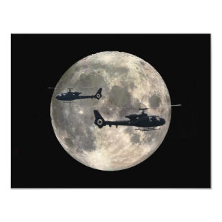 two helicopters silhouetted by a full moon card
