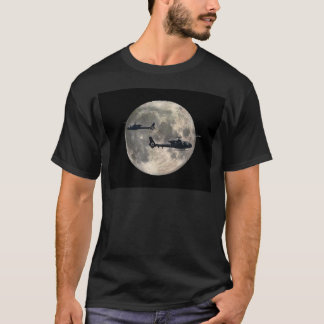 two helicopters silhouetted by a full moon T-Shirt