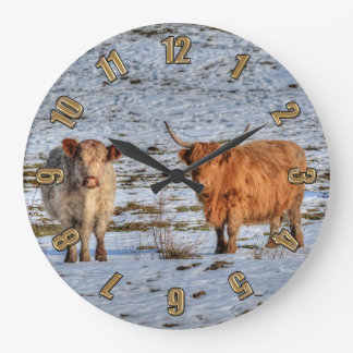 Two Highland Cattle in Winter Snow on a Wall Clock