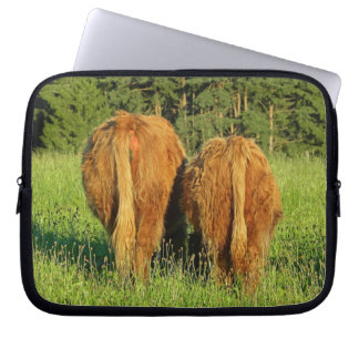 Two Highland Cattle Rears in Upper Austria Laptop Computer Sleeves