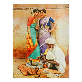 two hindu women with a snake handler postcards
