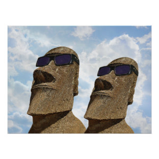 Two Hip Easter Island Moai - Poster