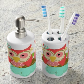 Two Hoot Owls Bathroom Set