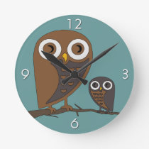 Two Hooters Round Clock