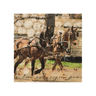 Two Horse Hitch Wood Print