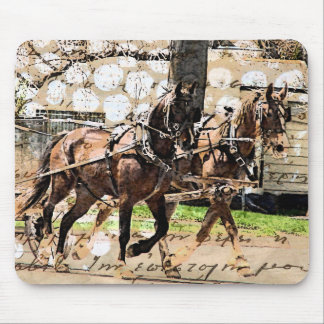 Two Horse Team Mixed Media Collage Mousepads