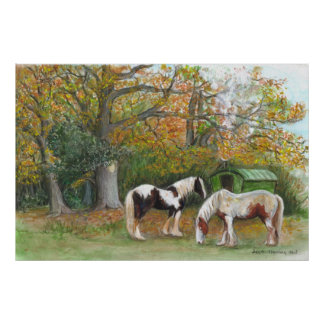 Two horses and a gypsy wagon - Canvas print