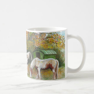 Two horses and a Gypsy wagon Classic White Coffee Mug