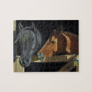 Two Horses At Barn Door: Oil Pastel Art Puzzle