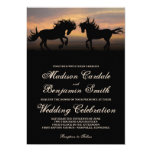 Two Horses at Sunset Country Wedding Invitations