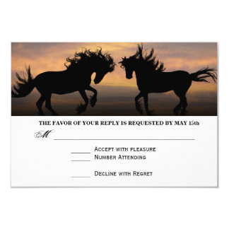 Two Horses at Sunset Country Wedding RSVP Cards