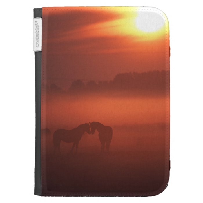 Two horses at sunset kindle folio cases