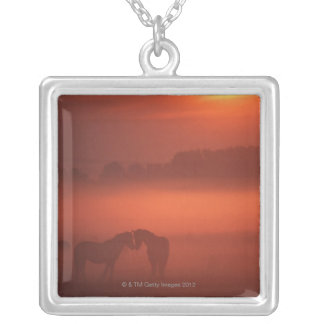 Two horses at sunset custom necklace