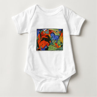 Two Horses by Franz Marc Baby Bodysuit