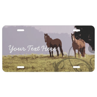 Two Horses Country License Plate