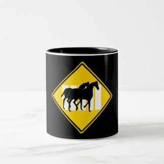 TWO HORSES CROSSING ROAD SIGN Two-Tone COFFEE MUG