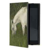 Two horses eating grass iPad mini case