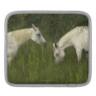 Two horses eating grass iPad sleeve