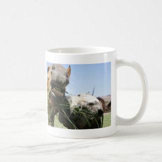 Two horses eating together coffee mug