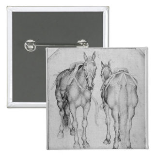 Two horses, from the The Vallardi Album Pinback Button