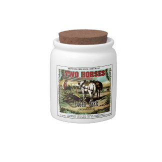 TWO HORSES IMAGINARY BEER CANDY JAR