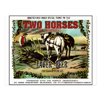 TWO HORSES IMAGINARY BEER POSTCARD
