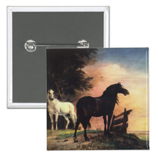 Two Horses in a Meadow near a Gate Pinback Button
