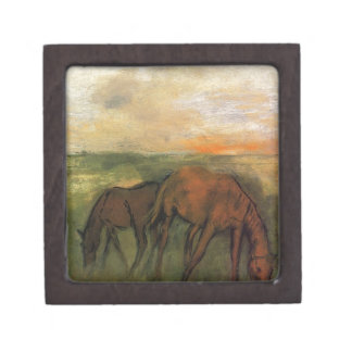 Two Horses in a Pasture by Edgar Degas Keepsake Box