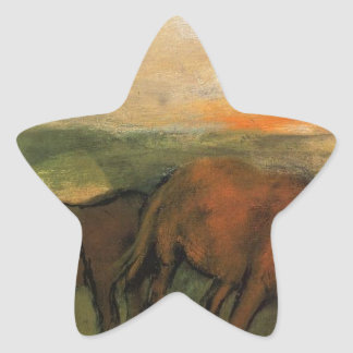 Two Horses in a Pasture by Edgar Degas Star Sticker