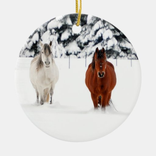 Two Horses in Snow, Christmas Ornament