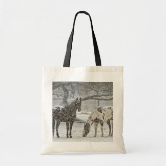 Two Horses in Snowy Pasture in Falling Snow Tote Bag
