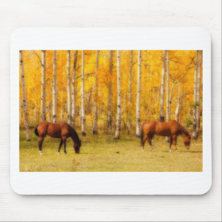Two Horses in the Colorado Fall Foliage Mouse Pad