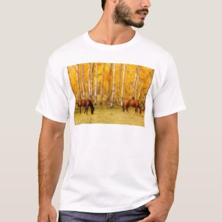 Two Horses in the Colorado Fall Foliage T-Shirt