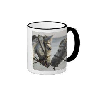 Two horses meeting. ringer coffee mug