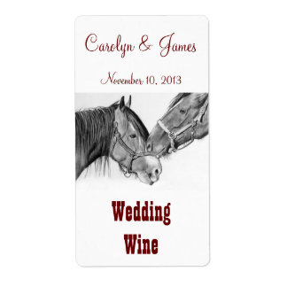 Two Horses Nuzzling: Wedding Wine: Pencil Art Label