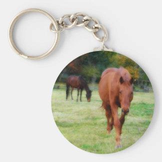 Two Horses on Farm Field Keychain